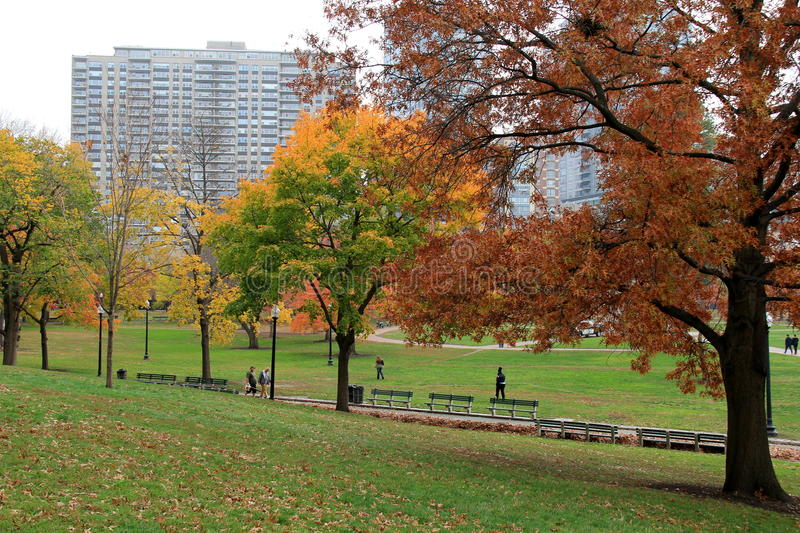 Nice fall day, with people strolling through Boston Common, 2014 royalty free stock photo
