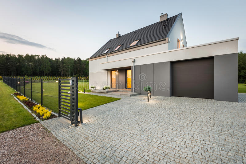 Nice family house at quiet area stock photography