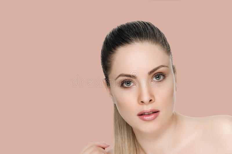 Nice female face with health skin royalty free stock photos