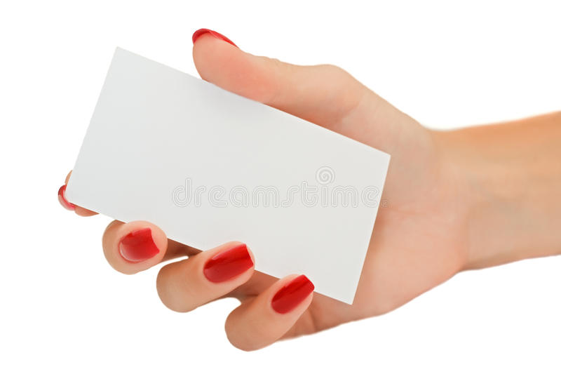 Nice female hand holding a blank business card royalty free stock image
