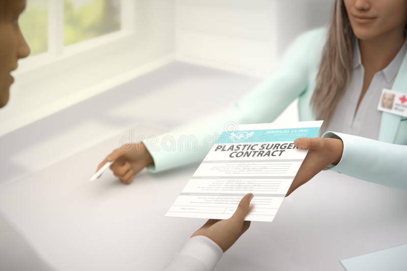 Medical illustration with selective focus - pretty woman medical doctor gives patient plastic surgery contract to sign in a bright. Nice female medical doctor vector illustration