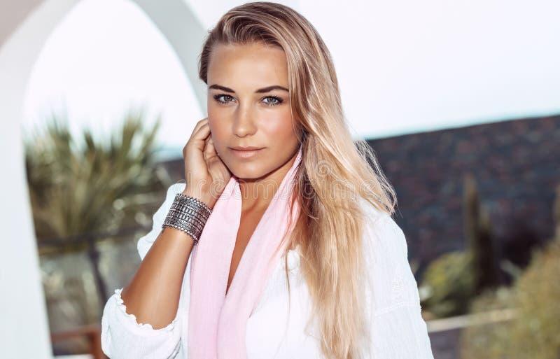 Nice female on the summer resort stock photo