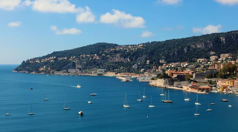 Nice French riviera, Côte d`Azur, mediterranean coast, Eze, Saint-Tropez, Cannes and Monaco. Blue water and luxury yachts. stock photo