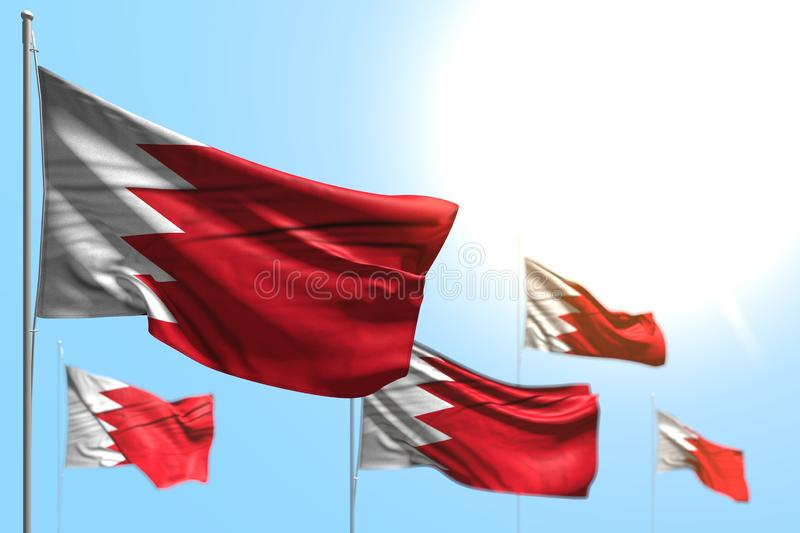 Nice 5 flags of Bahrain are wave against blue sky picture with selective focus - any holiday flag 3d illustration. Nice national holiday flag 3d illustration royalty free illustration