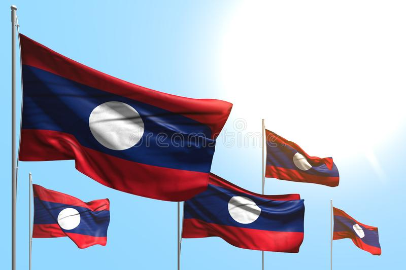 Cute memorial day flag 3d illustration - 5 flags of Lao People Democratic Republic are wave on blue sky background royalty free illustration