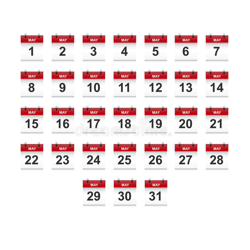 May calendar 1-31 illustration vector art stock photography