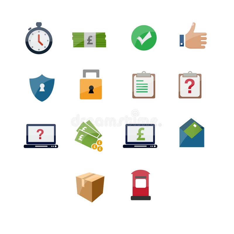Courier service icon set design royalty free illustration