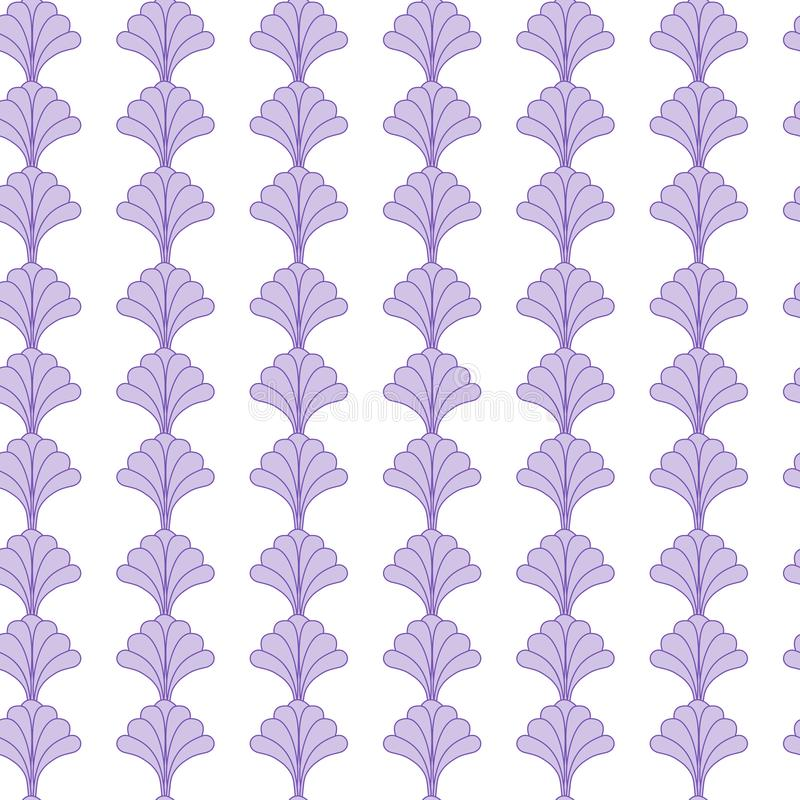 Nice Floral Seamless Pattern Design with Purple Flowers on White Background stock illustration