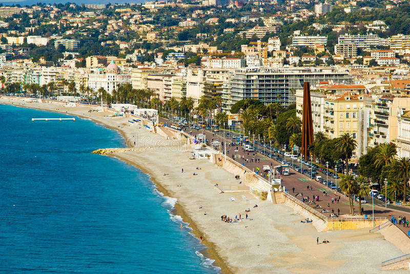 Nice, France. Waterfront in the city of Nice, France stock image