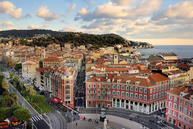 NICE, FRANCE - DECEMBER 14 2018: Aerial view of Place Massena square in Nice, France royalty free stock photos