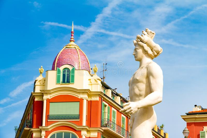 Nice, France. The Fountain of the Sun in Massena square in a summer day royalty free stock photos