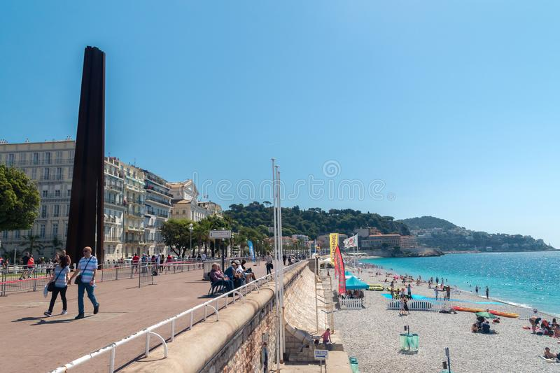 View of beach and promenade on Mediterranean Sea in Nice royalty free stock photography