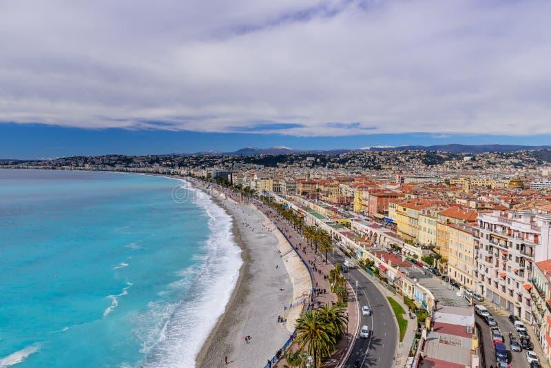 Beautiful panoramic aerial view of Nice city stock photos