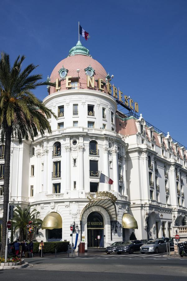 Nice, France, March 2019. The famous Negresco luxury hotel in the neoclassical style on the Promenade des Anglais in Nice. stock photography