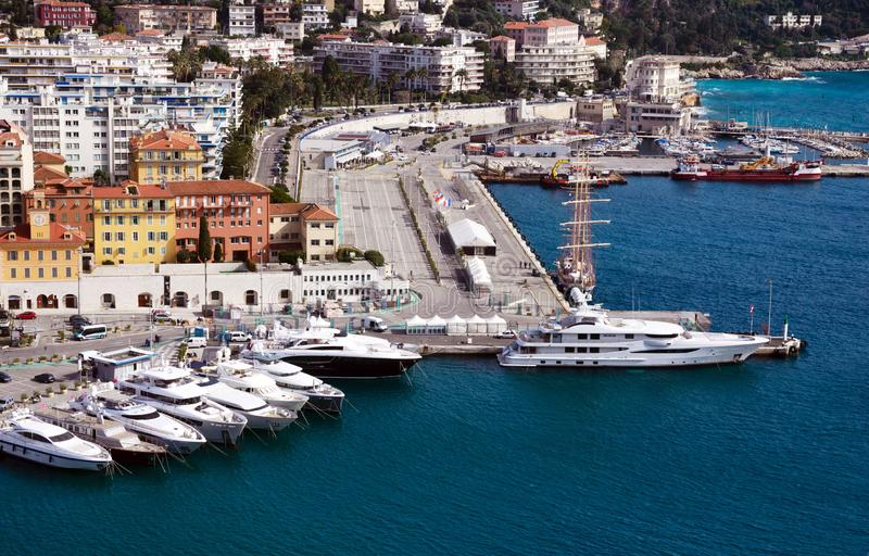 Nice, France, March 2019. Port of the French city of Nice. Private yachts and boats are parked near the coast. stock images