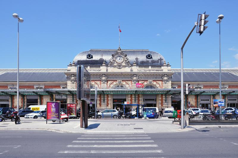 Exterior of the railway station building at hot sunny day time royalty free stock photography
