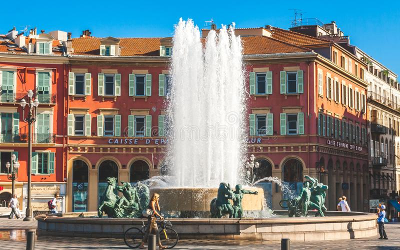 Sun Fountain on Place Massena in Nice royalty free stock photos