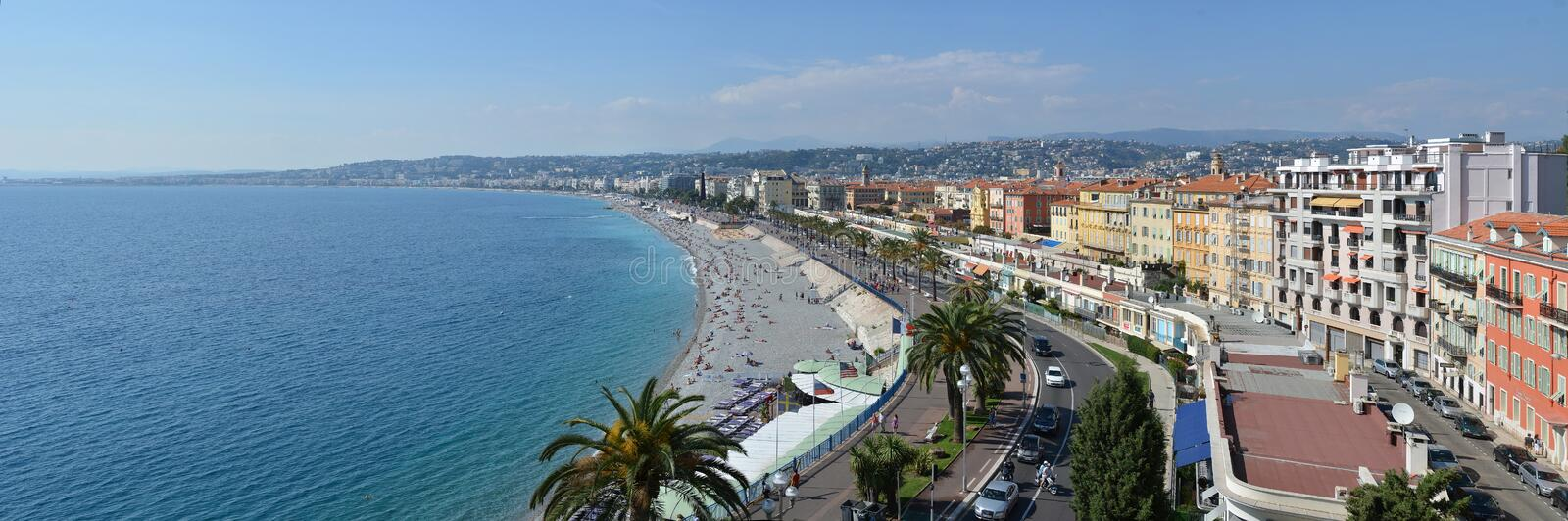 Nice Panorama of Beaches & Promenade Des Anglais, France royalty free stock photos