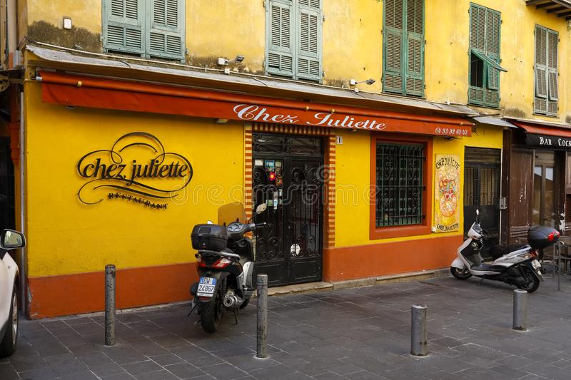 Colorful facade of the restaurant stock images