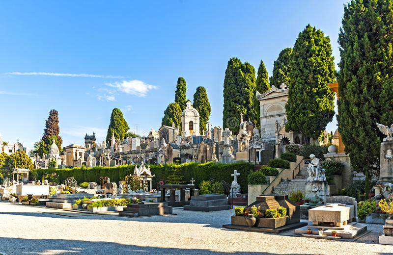 Nice, France. September 2, 2014: The graveyard at Cimetière du Château, which was founded in 1783, where some of Nice`s most famous people lie buried royalty free stock photos
