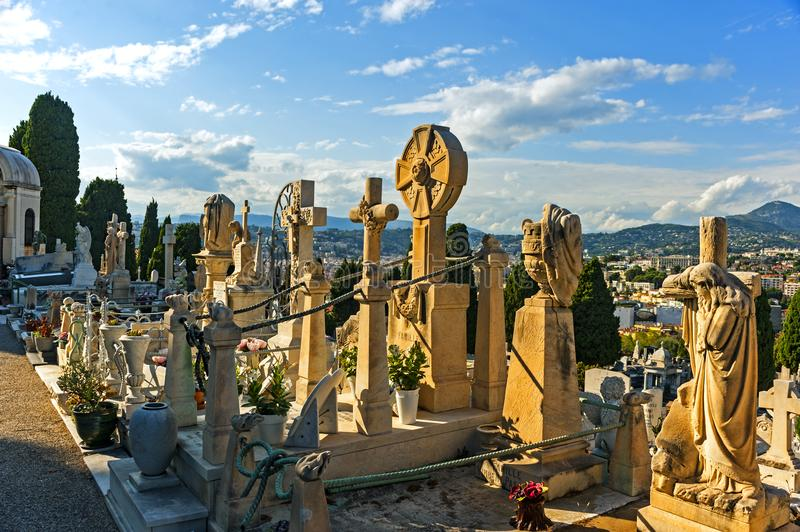 Nice, France. September 2, 2014: The graveyard at Cimetière du Château, which was founded in 1783, where some of Nice`s most famous people lie buried stock photo