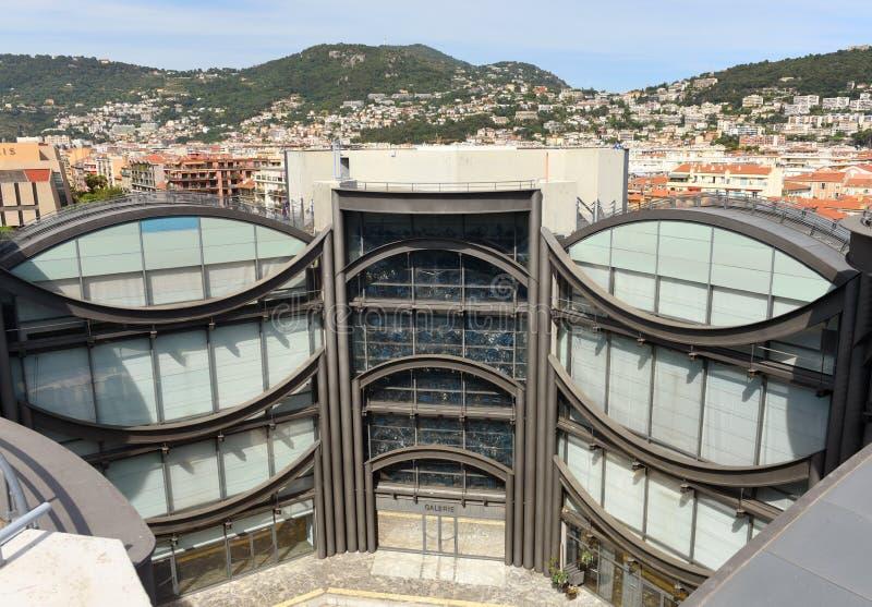 Nice, Frankrijk - Juni 19, 2019: Modern Art Museums van Nice, MAMAC Van Muséed 'kunst moderne et D 'kunst contemporain Nice royalty-vrije stock foto's