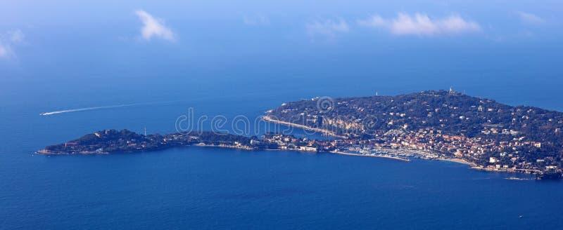 Nice French riviera, Côte d`Azur, mediterranean coast, Eze, Saint-Tropez, Cannes and Monaco. Blue water and luxury yachts. French riviera, Côte d`Azur stock image