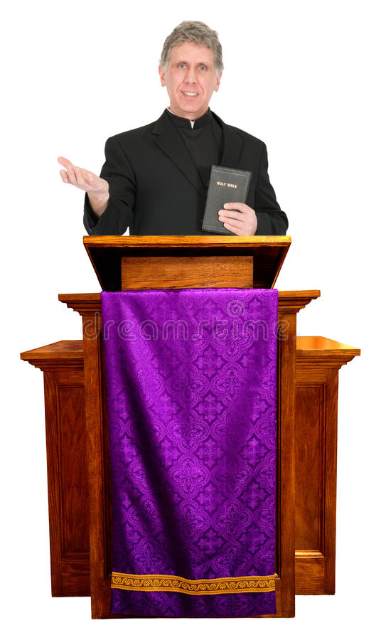 Preacher Minister Pastor Priest Sermon Isolated. A nice and friendly Christian priest, minister, pastor, or preacher is giving a worship sermon. God, morality stock image