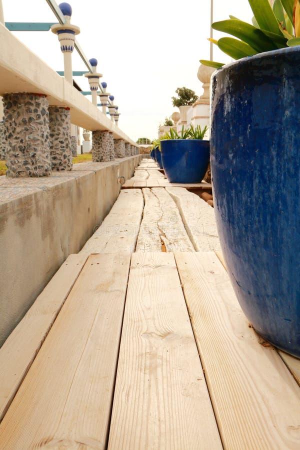 Wooden path in the garden royalty free stock photos