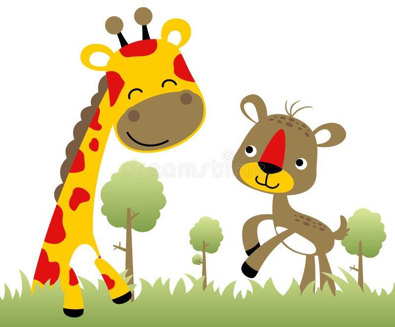 Nice giraffe with funny deer, vector cartoon illustration stock illustration