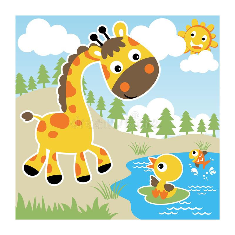Nice giraffe with little friends at summer vector illustration