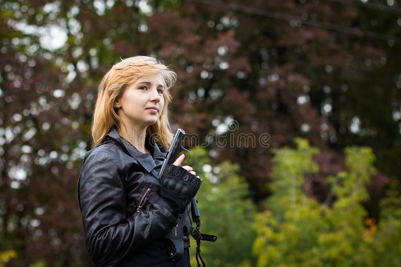 Nice girl with arms royalty free stock photos