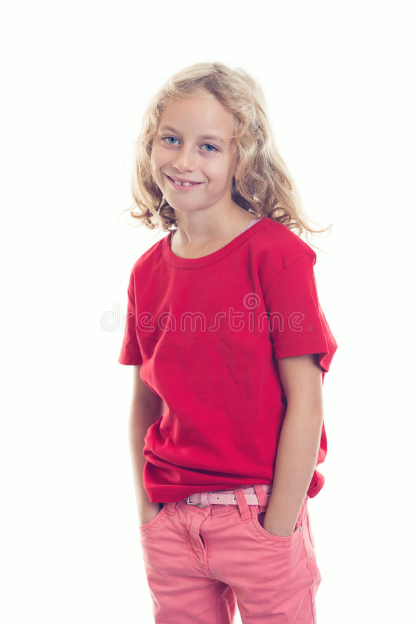 Nice girl with blond hair looking friendly. Nice girl with blond hair and red shirt looking fiendly royalty free stock photos