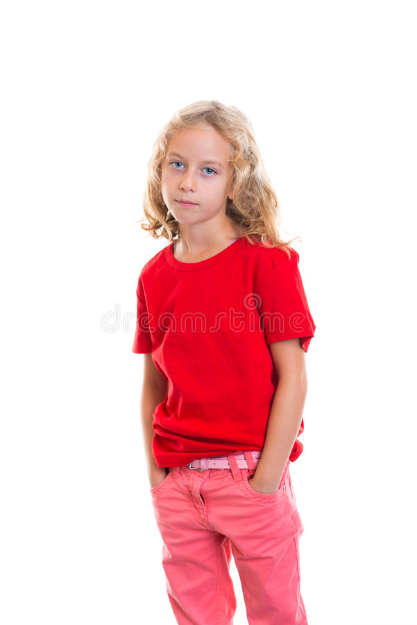 Nice girl with blond hair. And red shirt stock image