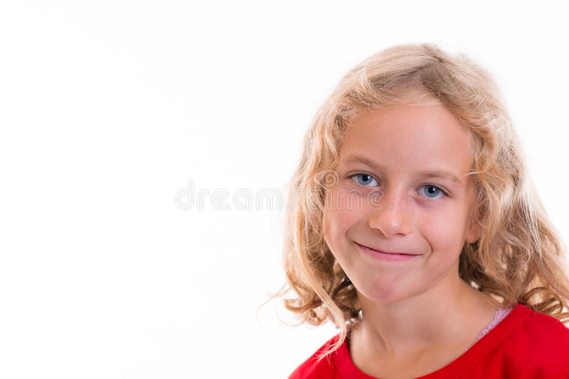 Nice girl with blond hair. And red shirt stock images
