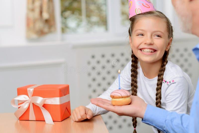 Nice girl celebrating birthday stock photo