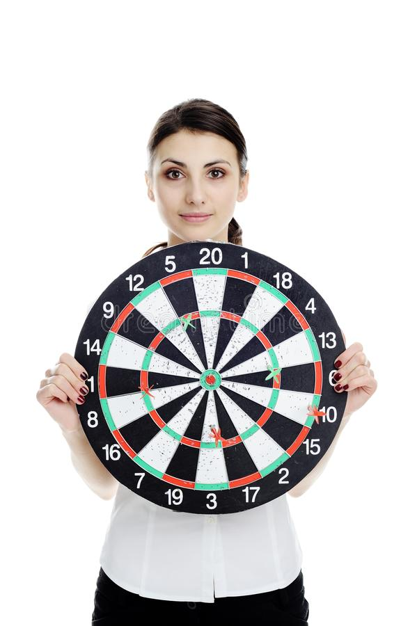 Download Nice girl with dartboard stock photo. Image of target - 18362342