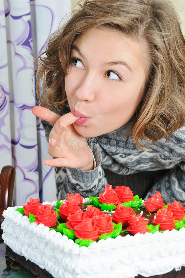 Download Nice girl eat cake stock photo. Image of adult, home, happy - 7497146