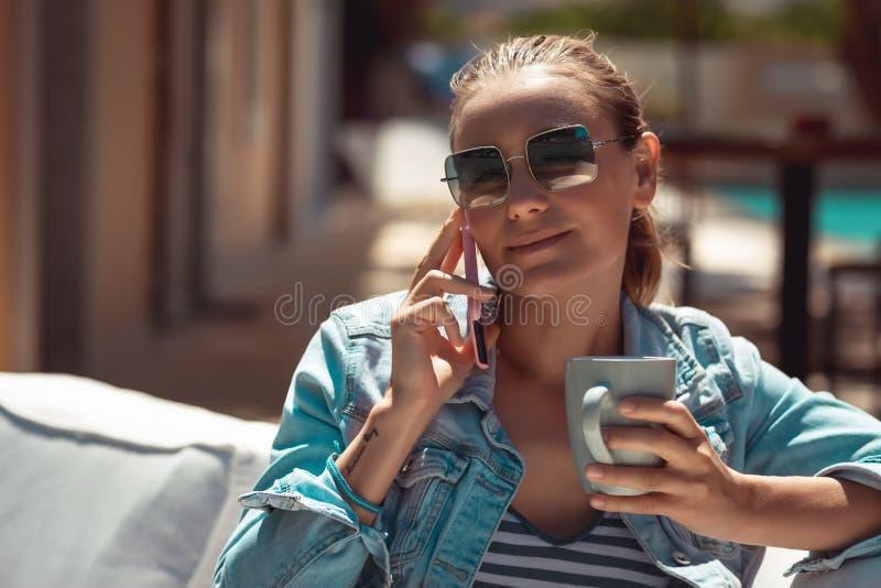 Nice Girl Enjoying Coffee Break royalty free stock photo