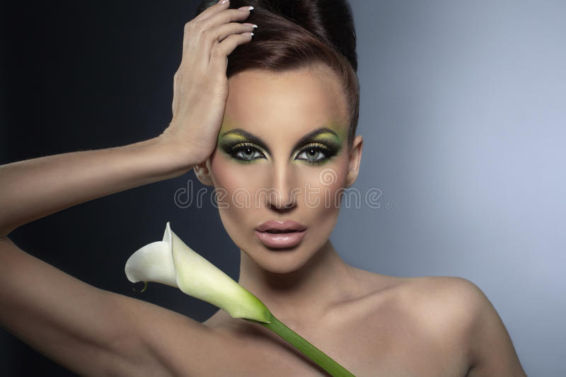Nice Girl With Flower Stock Images