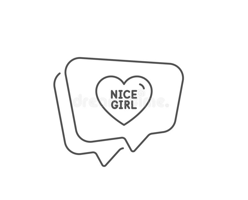 Nice girl line icon. Sweet heart sign. Valentine day love. Vector. Nice girl line icon. Chat bubble design. Sweet heart sign. Valentine day love symbol. Outline royalty free illustration