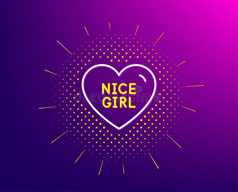 Nice girl line icon. Sweet heart sign. Valentine day love. Vector. Nice girl line icon. Halftone pattern. Sweet heart sign. Valentine day love symbol. Gradient vector illustration