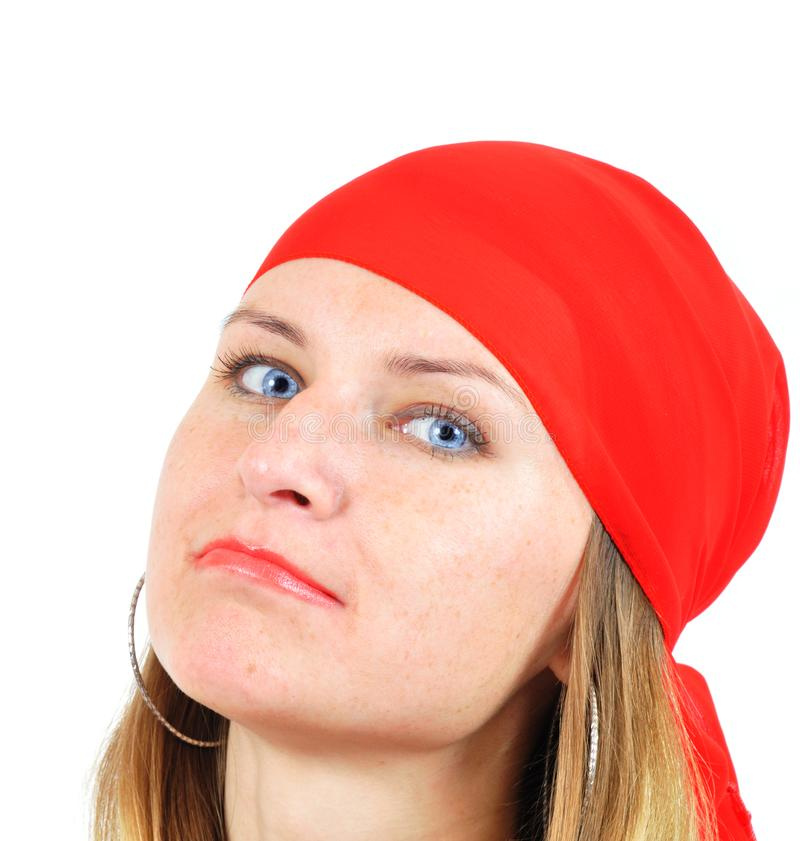 Download Nice girl in red kerchief stock image. Image of freckles - 6631647