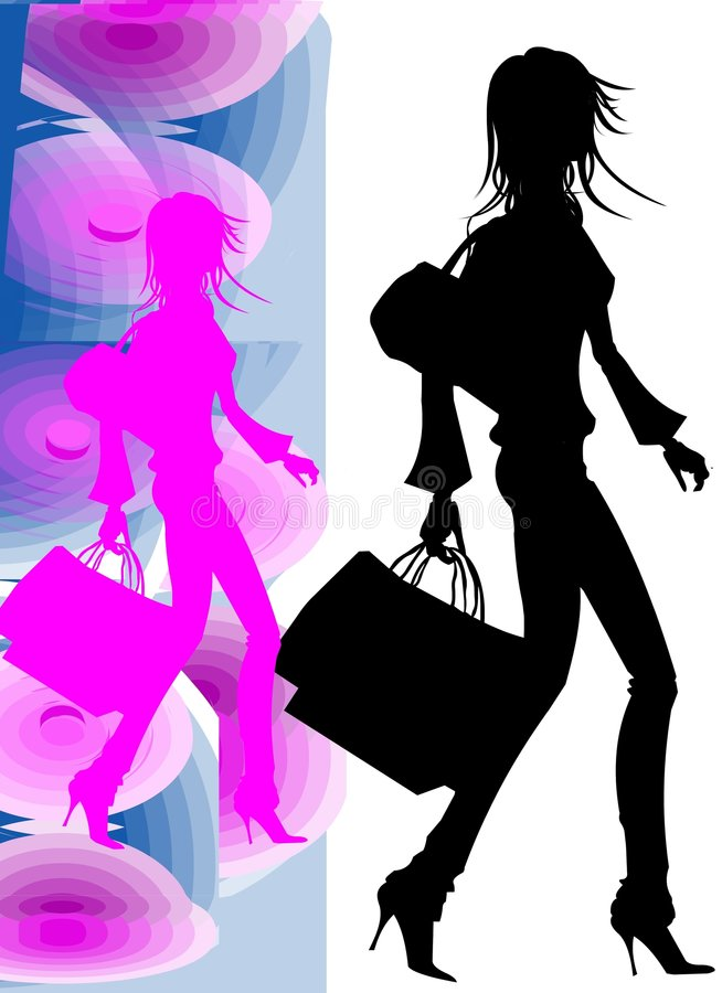 Nice Girl Silhouette going to shopping royalty free stock photos