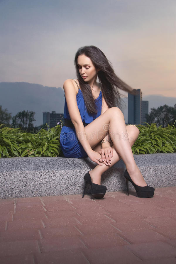 Download Nice Girl Sitting Behind The Sunset Stock Photo - Image: 20722680