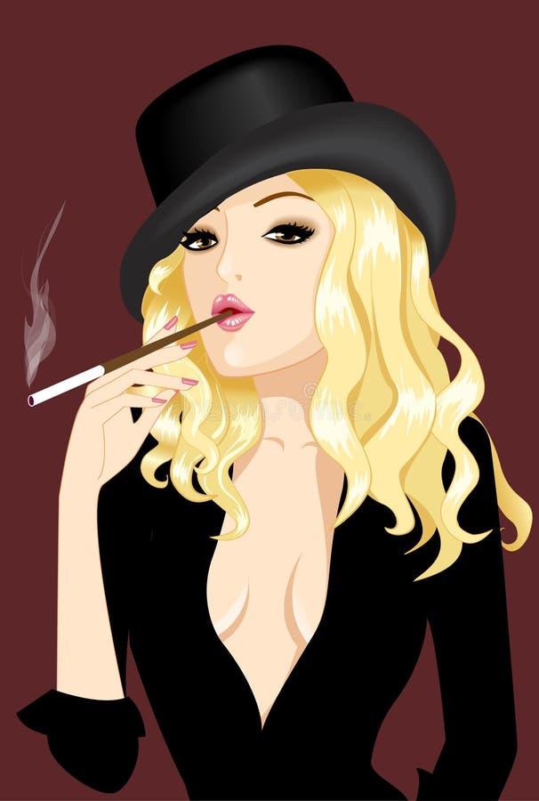 Nice girl smoke cigar in hat. Girl in hat smoke cigar stock illustration