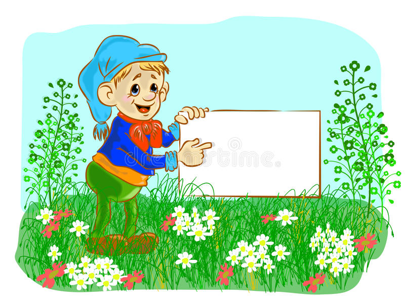 Download The Nice Gnome Holds A Banner Stock Vector - Image: 23868360