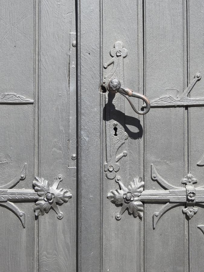 Beautiful old door with handle, Lithuania royalty free stock image