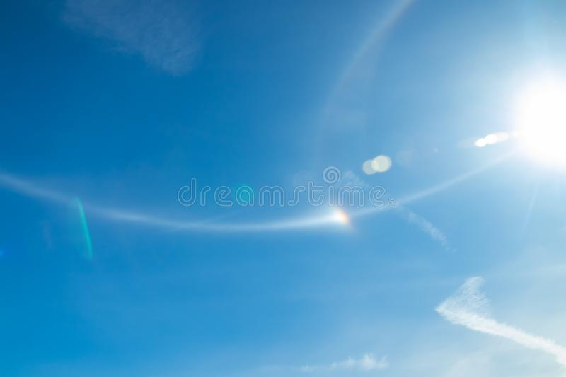 Nice halo light with sun at summer morning in Naantali, Finland.  stock photo