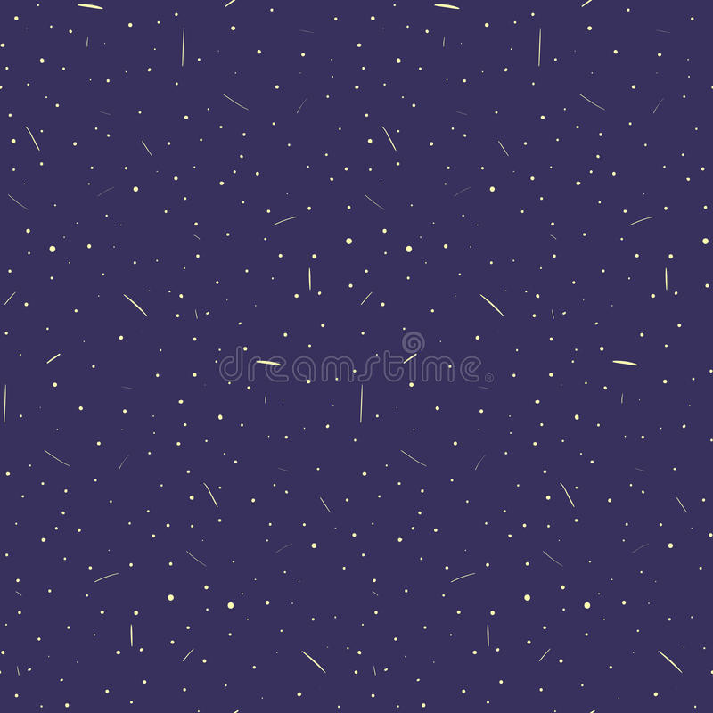 Nice hand drawn dark blue sky with stars and comets seamless pattern. Cute night sky texture stock illustration